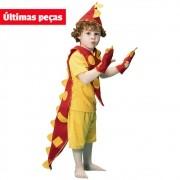 Fantasia de Dinossauro Tom Vermelho e Amarelo curta com rabo e luvas com garras