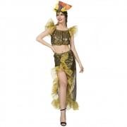 Fantasia de Lady Gold com tiara de frutas para adultos
