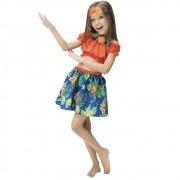 Fantasia de Havaiana Lana infantil com saia e blusa ciganinha