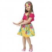 Fantasia de Havaiana Malu infantil com saia e blusa ciganinha