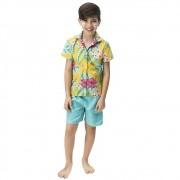 Fantasia de Havaiano Hani infantil camisa com bermuda