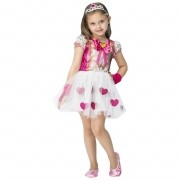 Fantasia de Princesa Victoria vestido curto com coroa