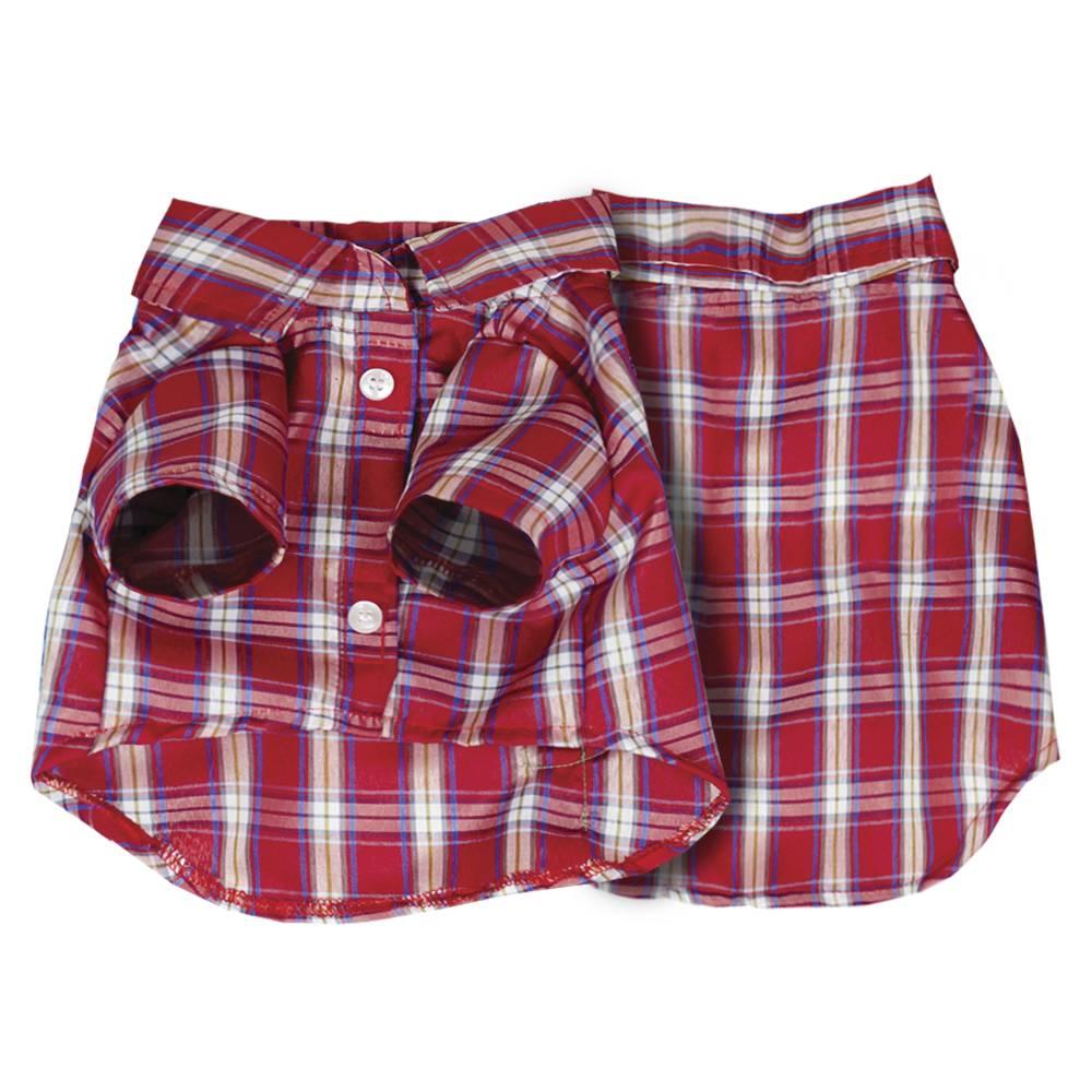 Camisa xadrez Vermelha para cachorros e gatos, Tam PP ao GG