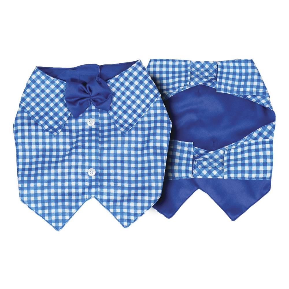 Colete Xadrez Azul Claro para cachorros e gatos, Tam PP ao GG