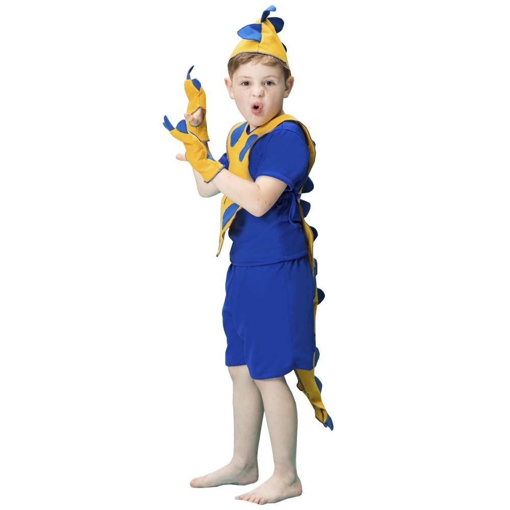 Fantasia de Dinossauro Sky Azul e Amarelo curta colete com rabo e luvas com garra