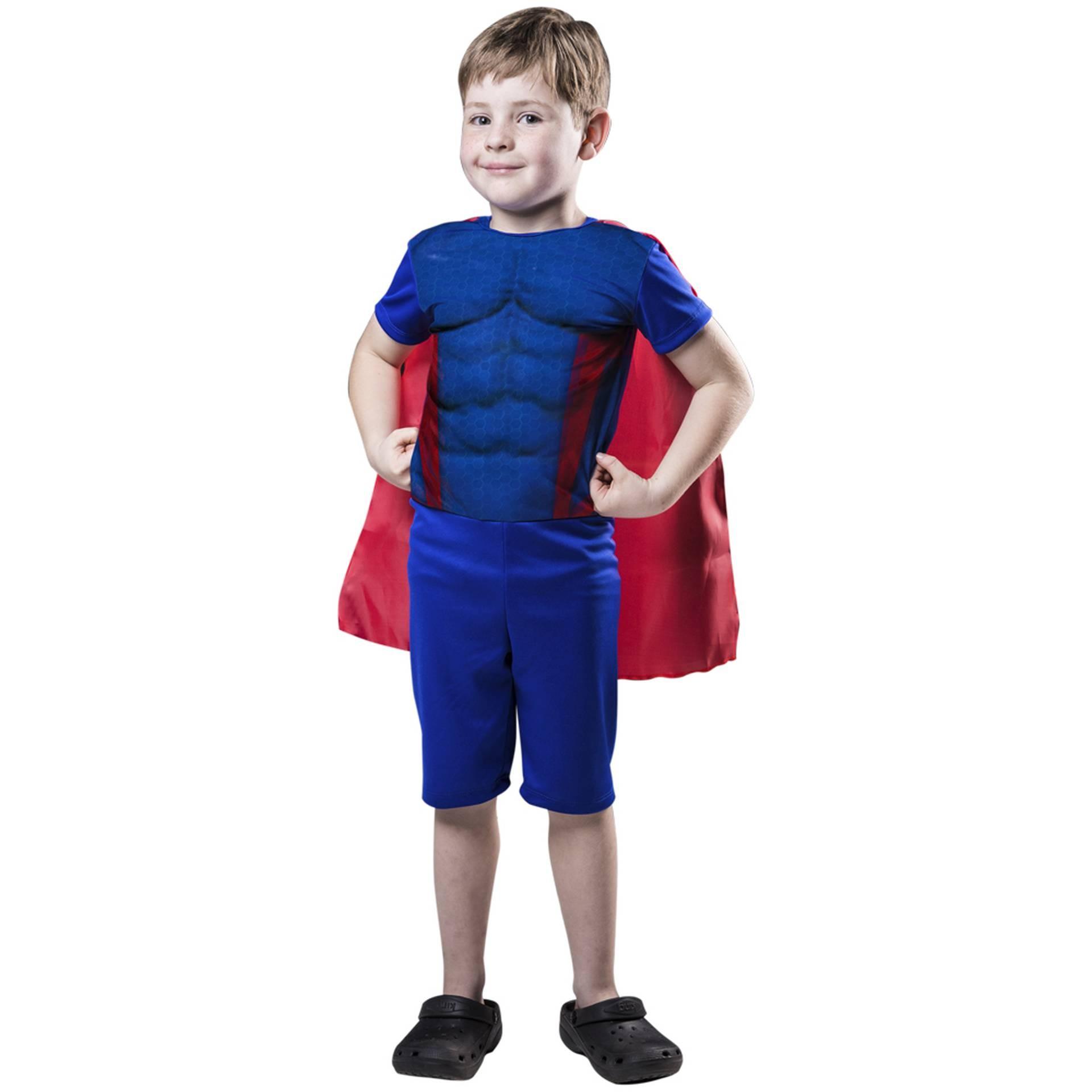 Fantasia de Capitão Estelar, macacão curto com capa para meninos