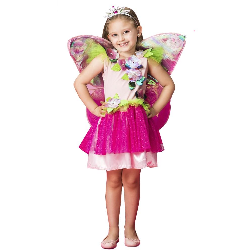 Fantasia de Fadinha Pink com asas e tiara