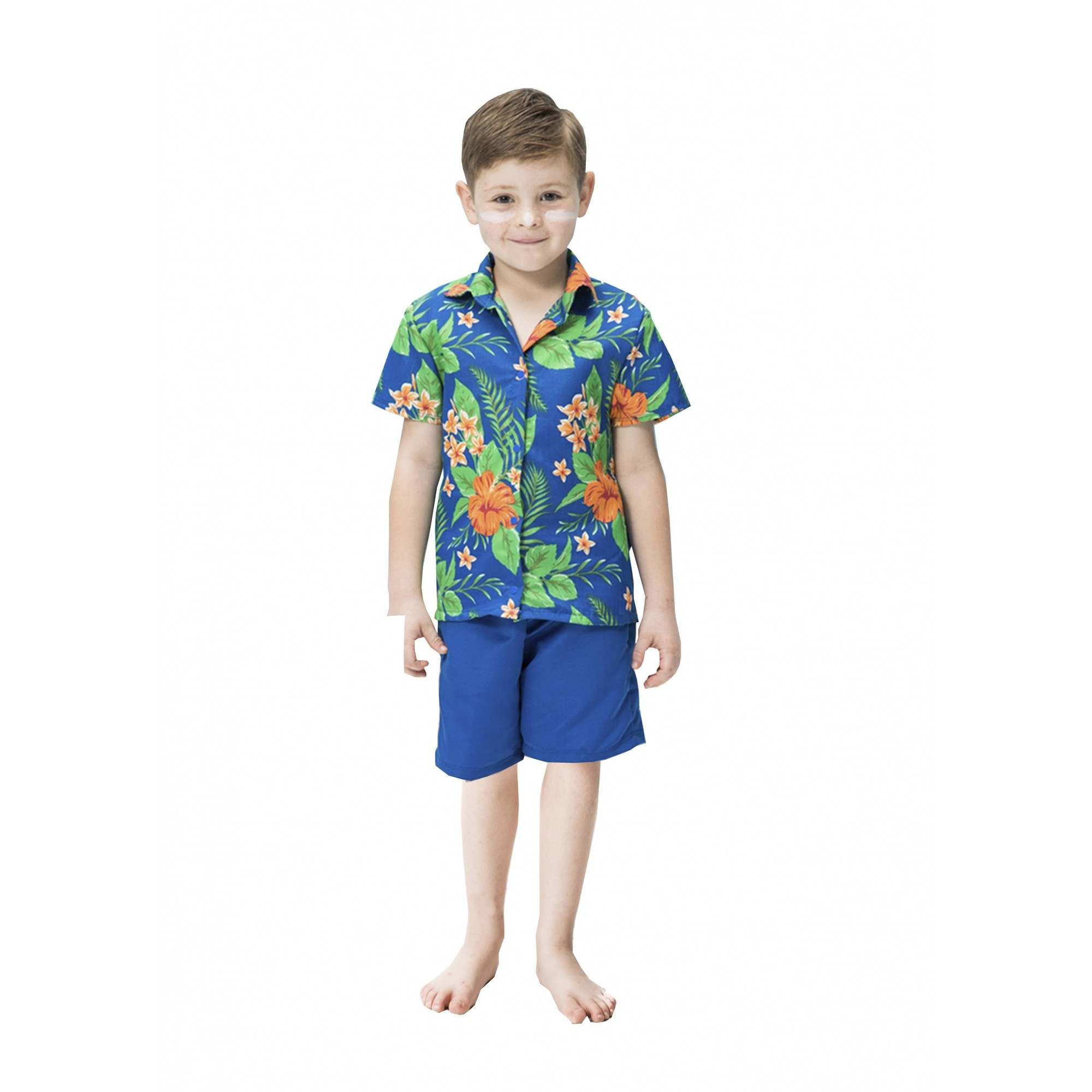 Fantasia de Havaiano Kai infantil camisa e bermuda