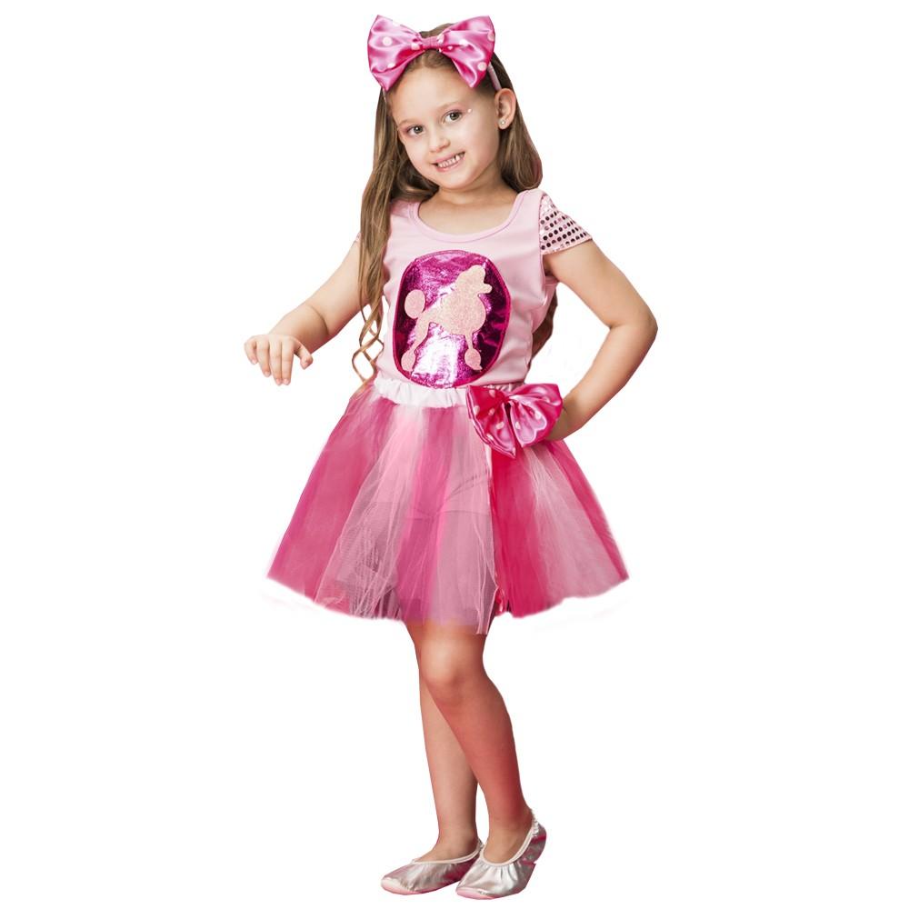 Fantasia de poodle rosa com tiara e saia frufru