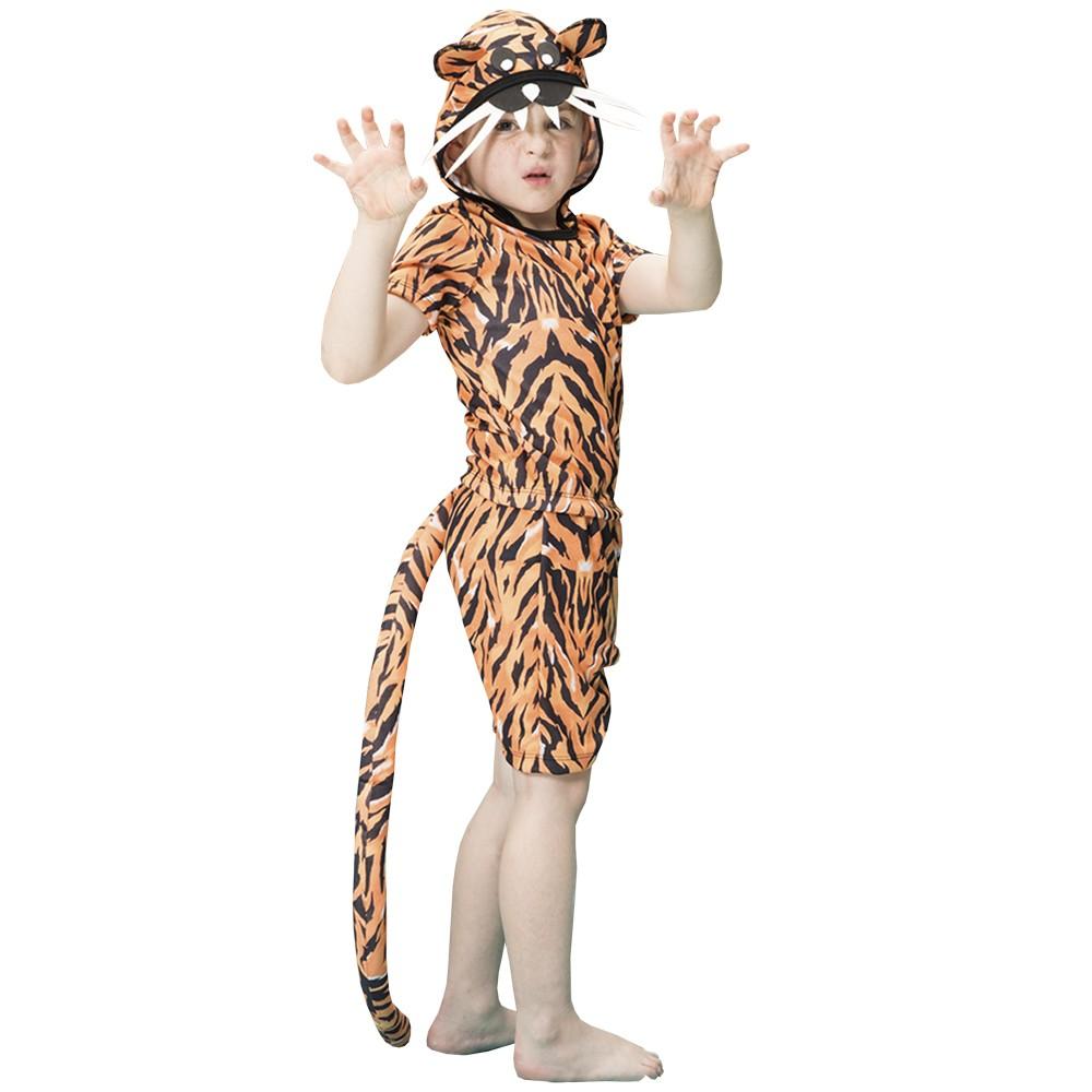 Fantasia de Tigre Infantil com capuz e rabo