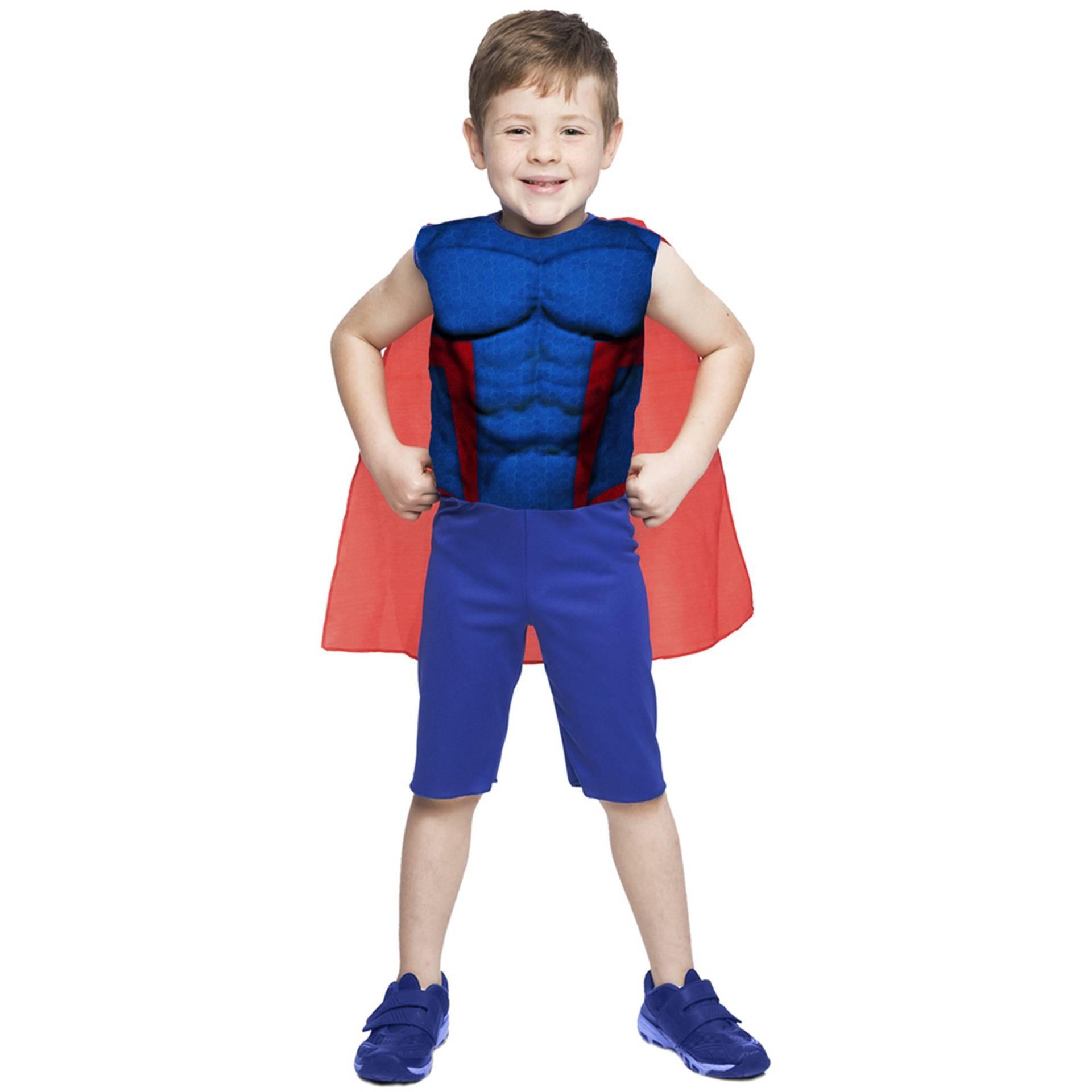 Fantasias do Super Capitão Estelar com capa e músculos