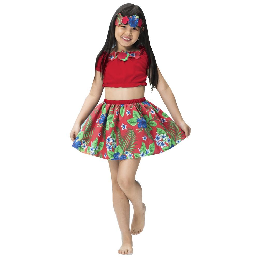 Fantasia de Havaiana Luana infantil com saia e blusa ciganinha