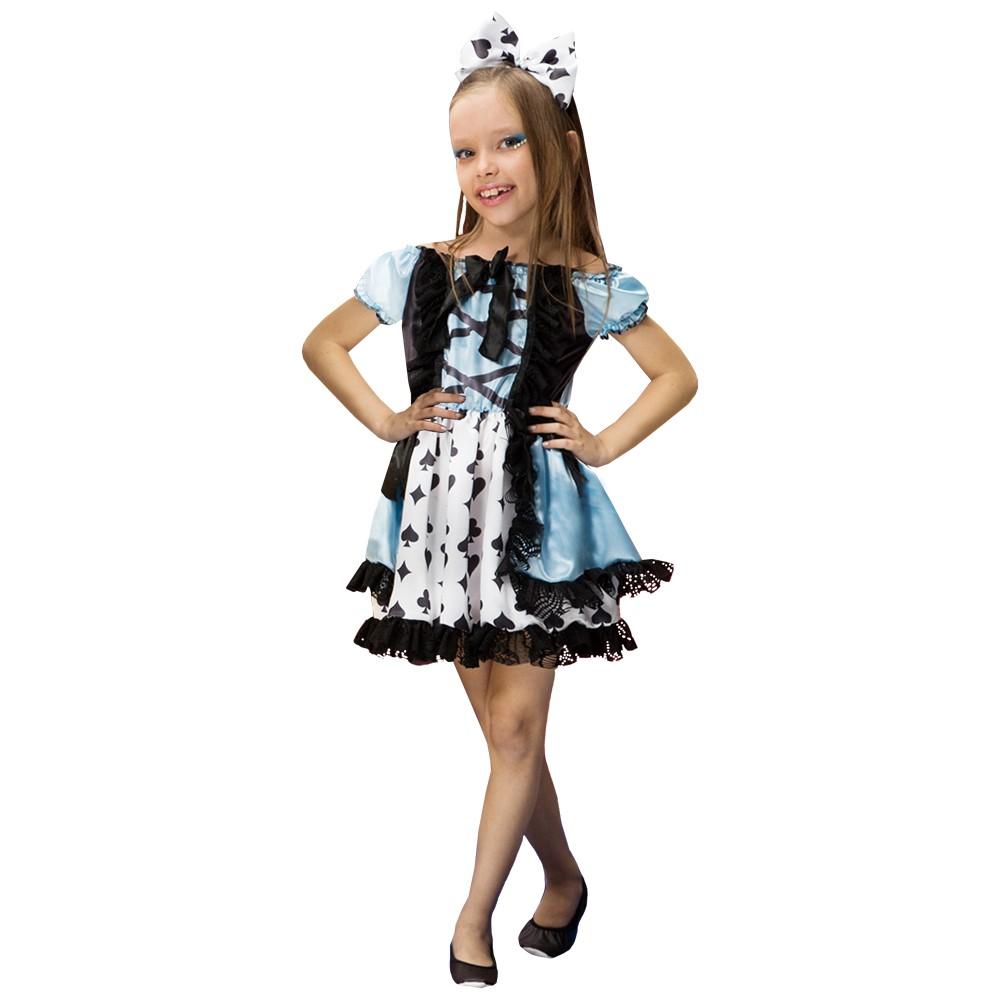 Fantasia de Menina Naipe Azul vestido curto infantil