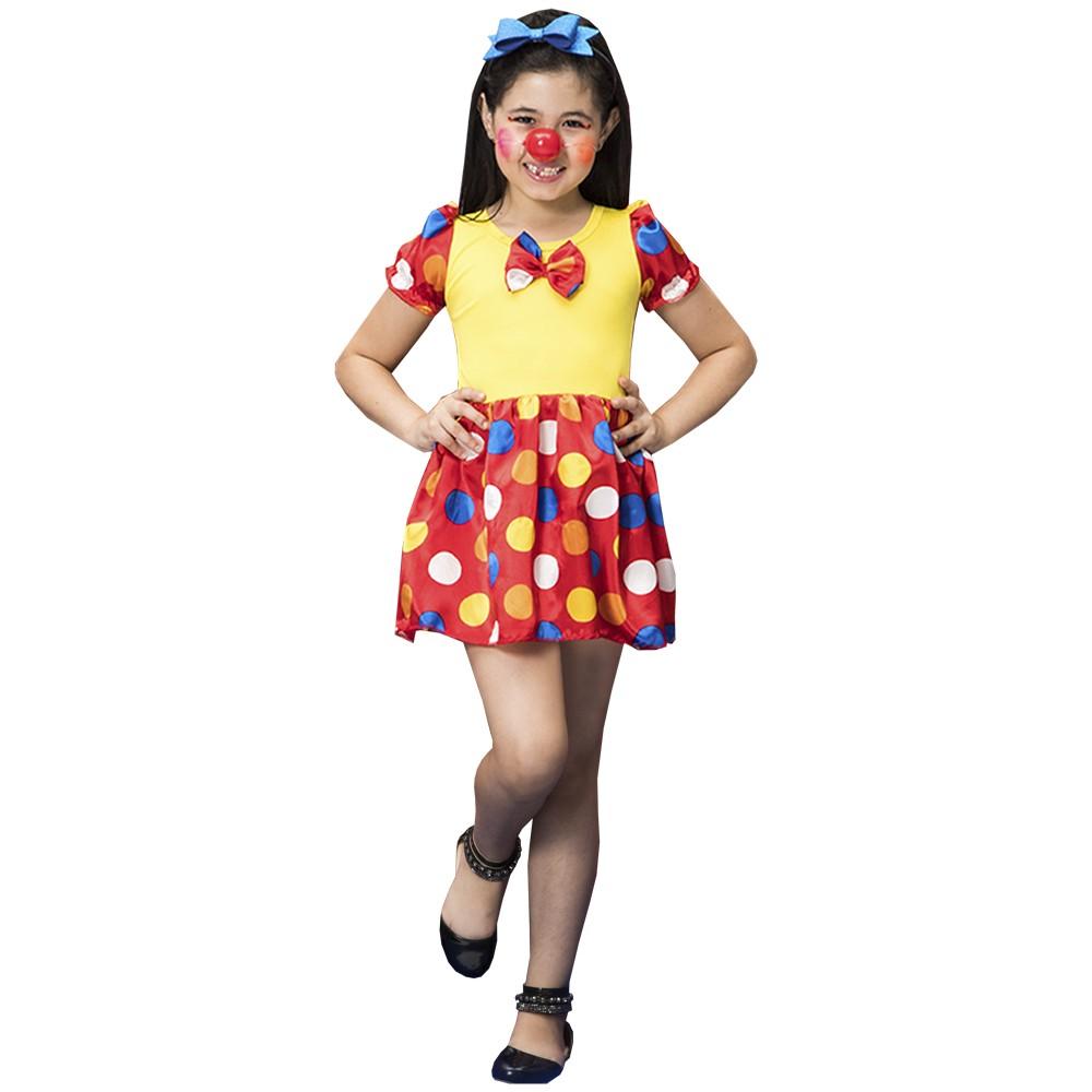 Fantasia de Palhacinha Alegria vestido curto de bolinhas com tiara e laço