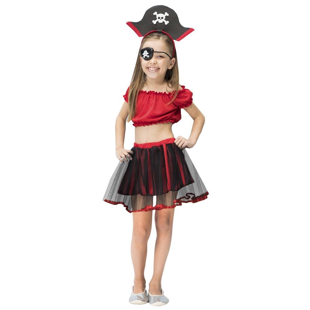 Fantasia de Piratinha Doti com tiara de chapéu