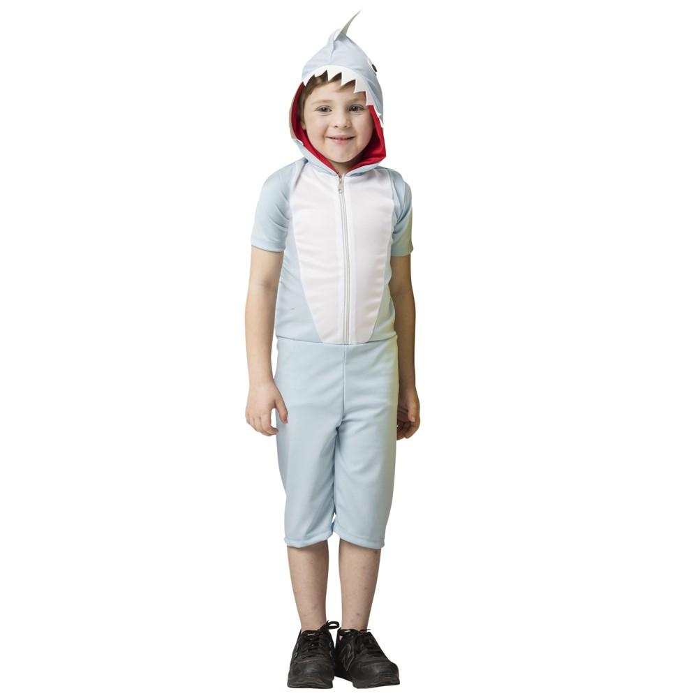 Fantasia de Tubarão Azul infantil macacão com barbatana