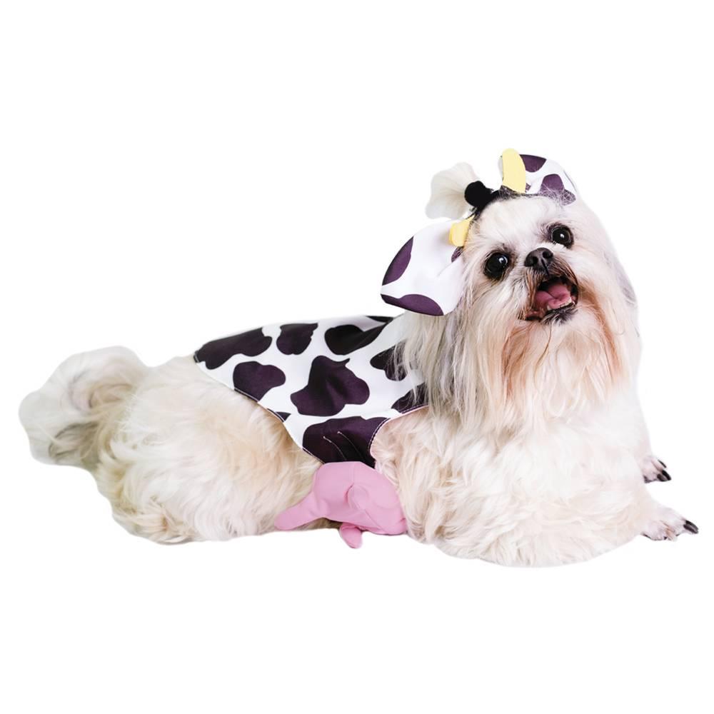 Fantasia de Vaquinha para cachorros e gatos com orelhas e tetinha, Tam PP ao GG