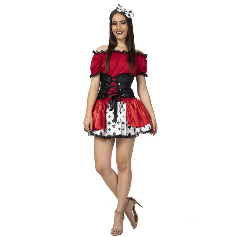 Vestido Naipe Vermelho com espartilho para adultos