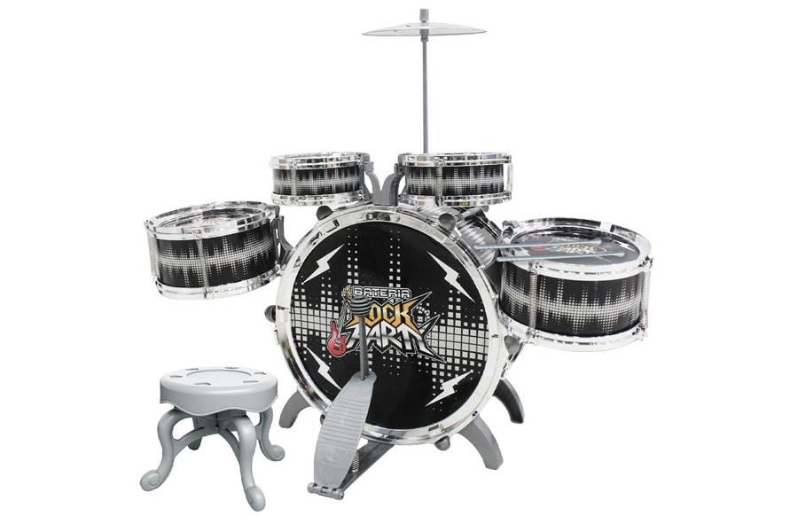 Bateria Musical Infantil 51cm Rock Party Preta com Banquinho DMT6066