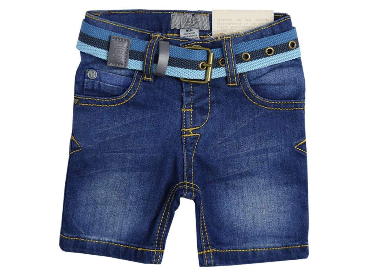 Bermuda Jeans com Cinto Tigor T.Tigre