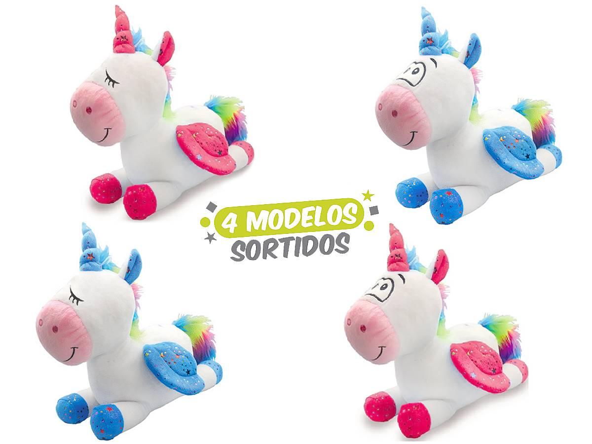 Bicho De Pelúcia Unicórnio Deitado 35 Cm Unik Toys Sortidos