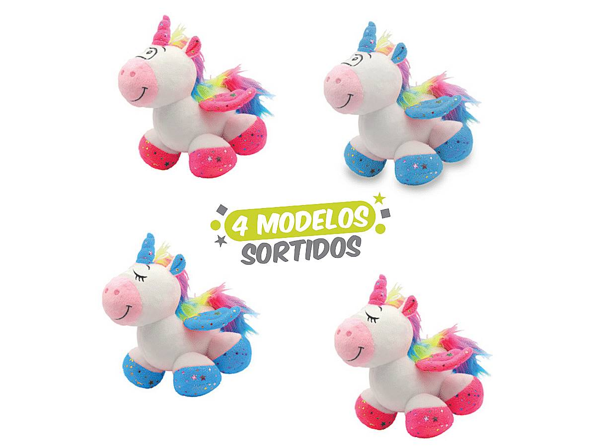 Bicho De Pelúcia Unicórnio Sentado 25 Cm Unik Toys Sortidos