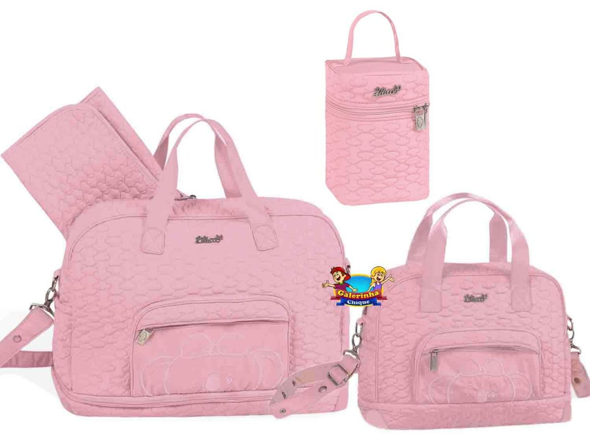 Bolsa Maternidade 3 peças Rosa Lilica Ripilica 80101458B