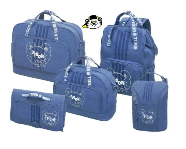 Bolsa Maternidade Tigor T.Tigre Kit 5 peças Completo Luxo Azul Baby To Go 93