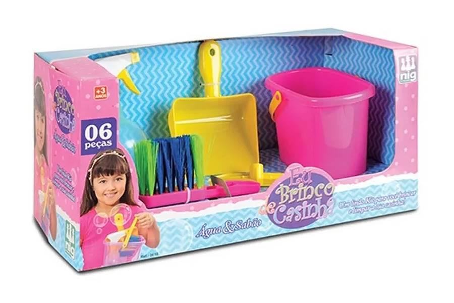 Brinquedo Eu Brinco de Casinha Kit Limpeza Água e Sabão com 6 pçs