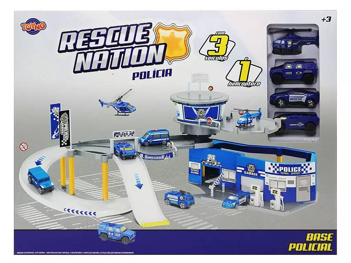 Brinquedo Kit Garagem Base Policial com Acessórios Toyng