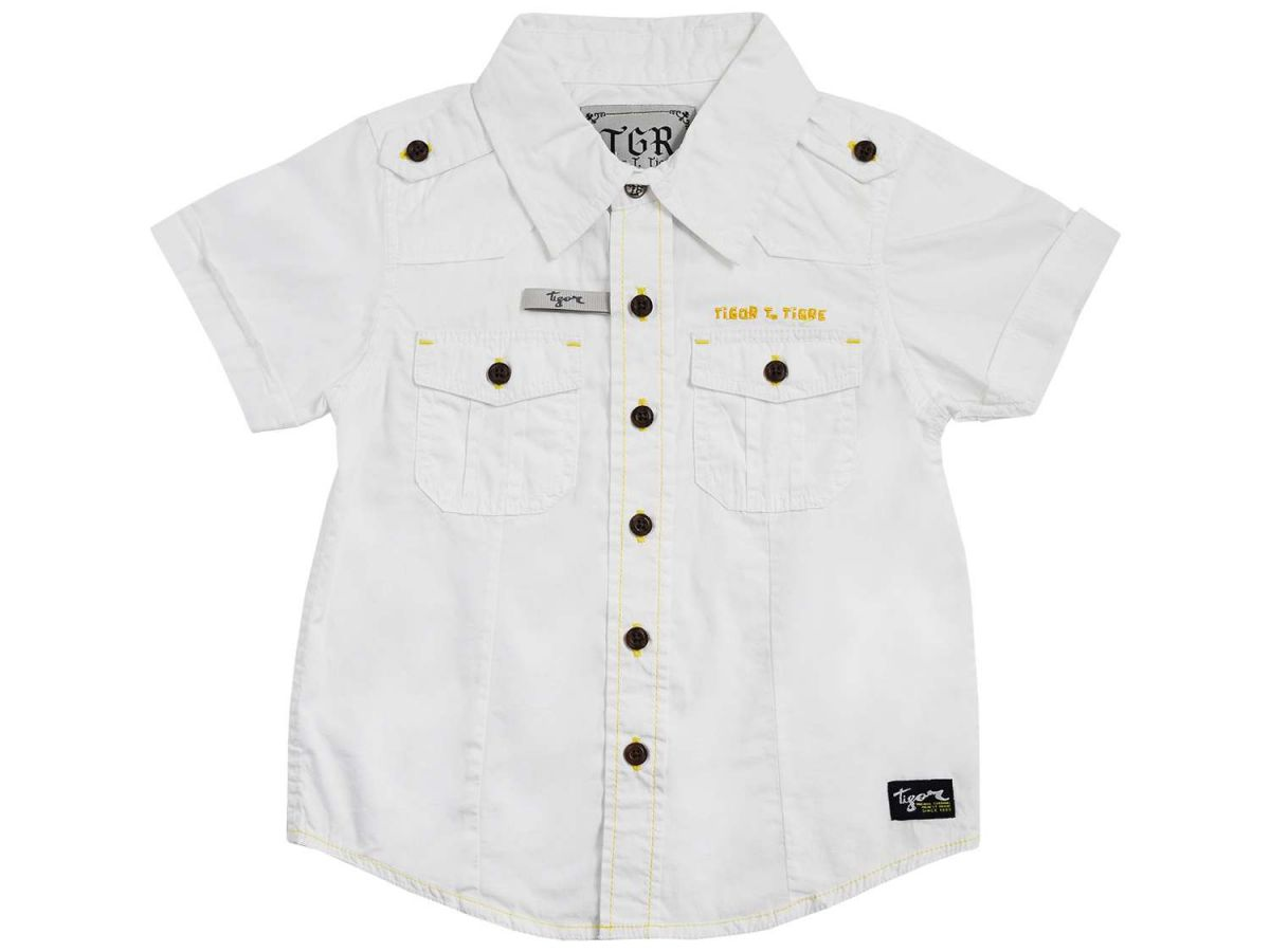 Camisa Branca Manga Curta Tigor T.Tigre