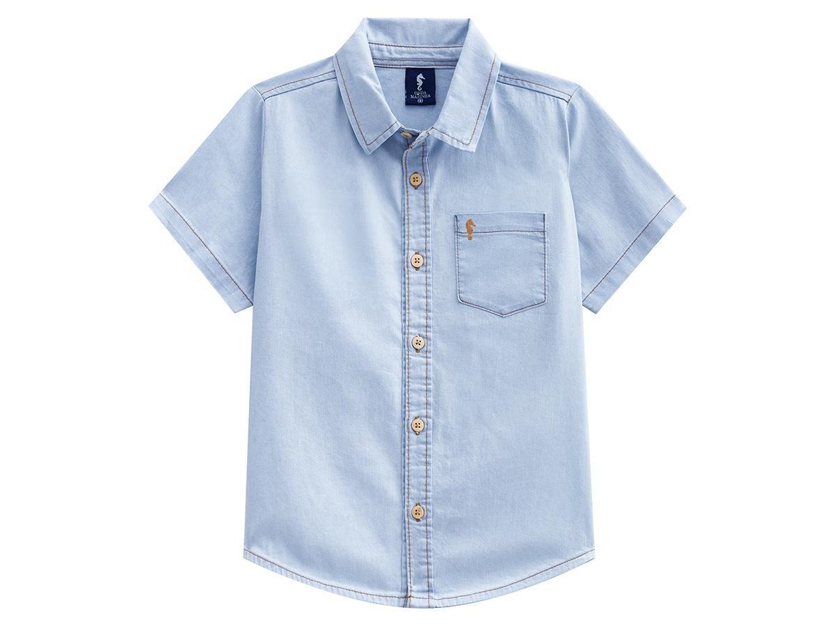 Camisa Jeans Manga Curta Onda Marinha A2558