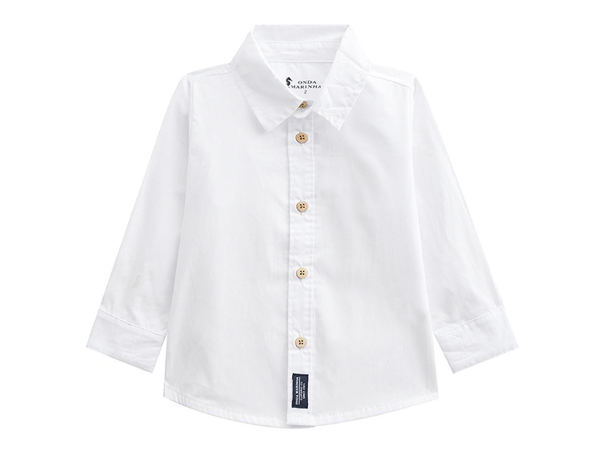 Camisa Masculina Branca Manga Longa Onda Marinha A2510