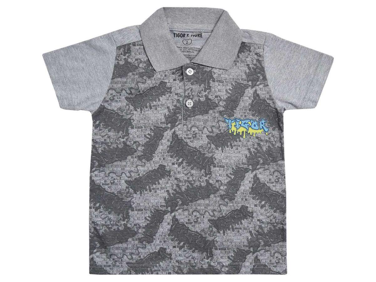 Camisa Polo Cinza Tigor T.Tigre