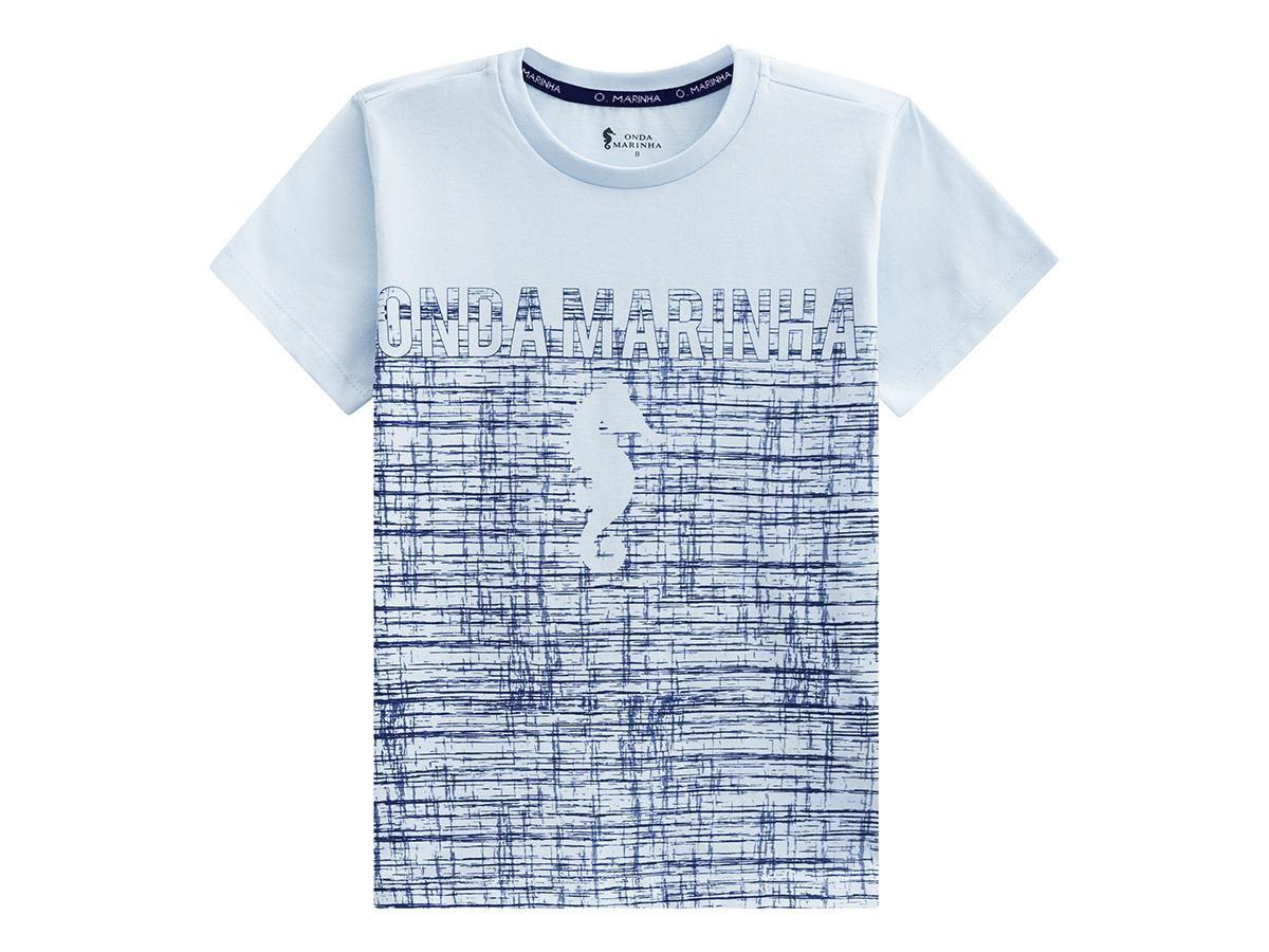 Camiseta Azul Estampada Onda Marinha A2532