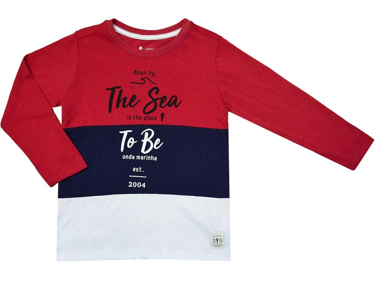 Camiseta Manga Longa Masculina Onda Marinha A2063