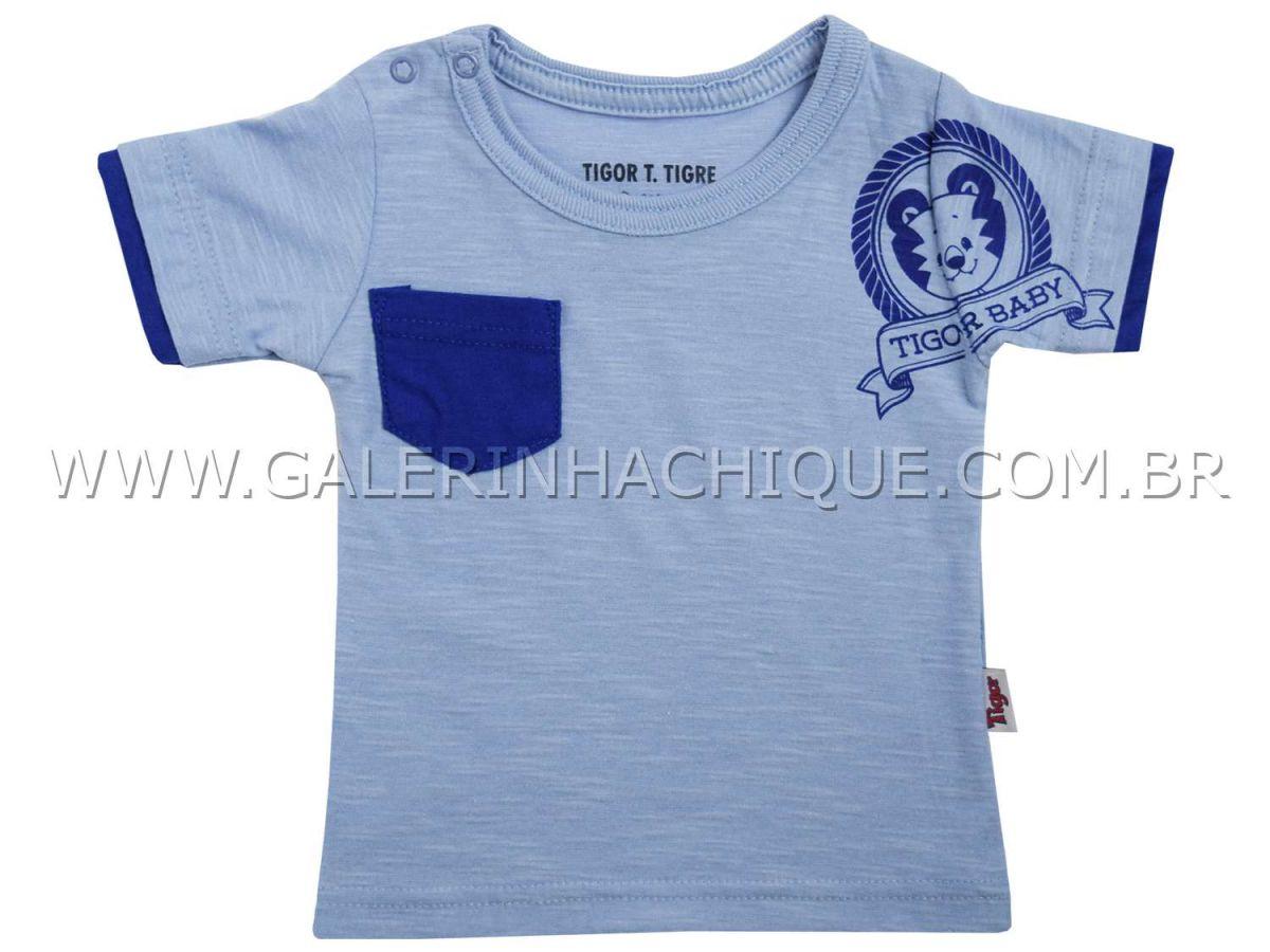 Camiseta Tigor T.Tigre Azul Manga Curta Sobreposta