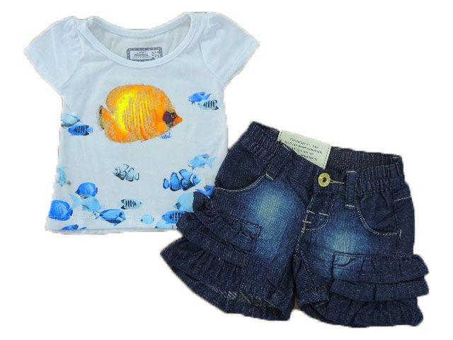 Conjunto Baby Look e Short Jeans Com Cinto Marisol