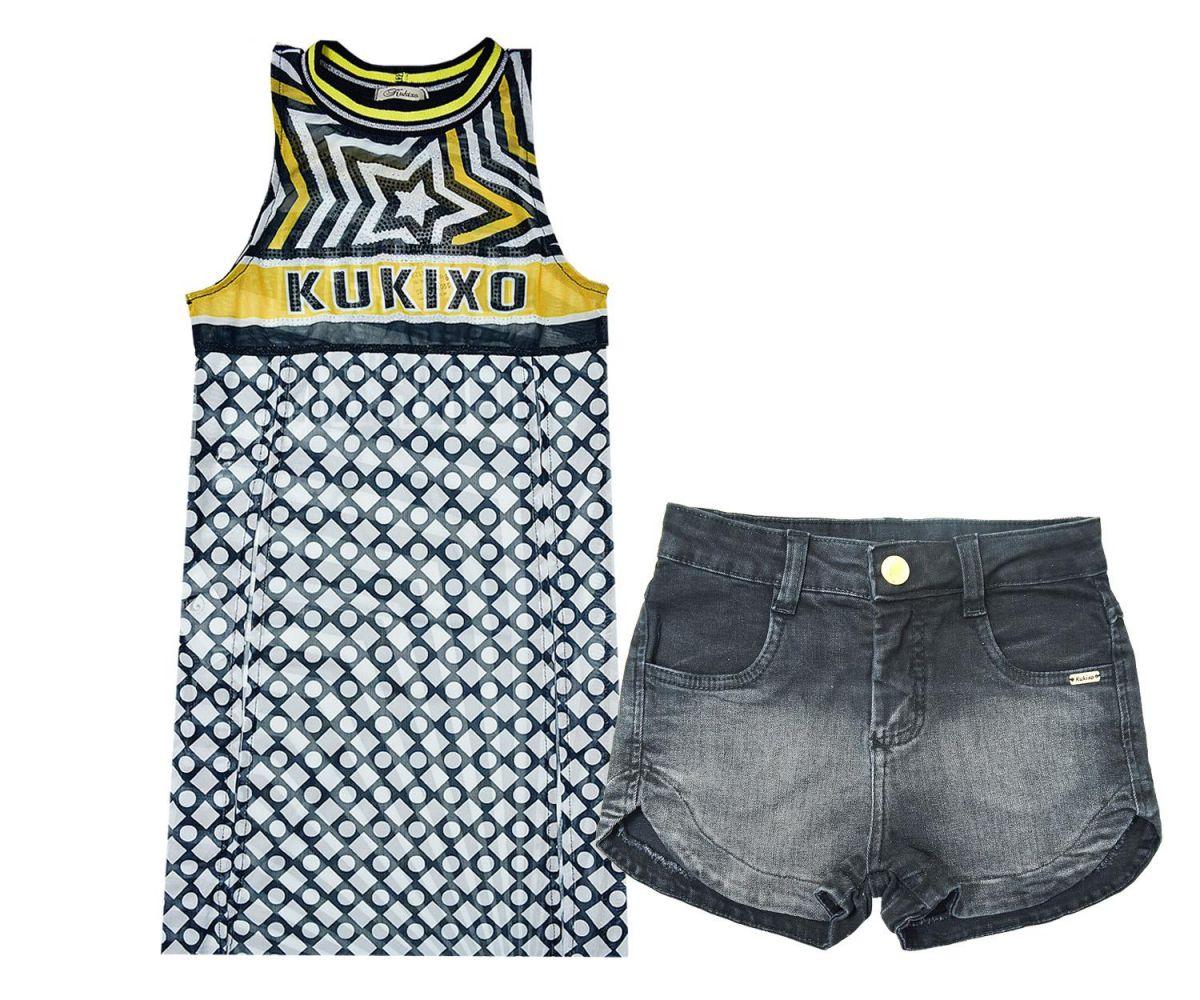 Conjunto Bata Fenda Lateral e Shorts Kukixo K2113