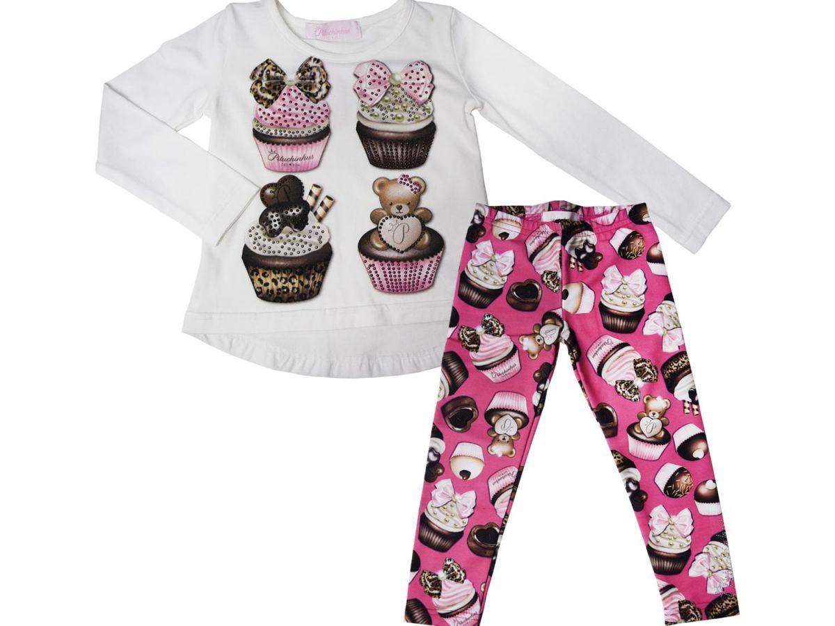 Conjunto Blusa e Legging Pituchinhus Cup cake