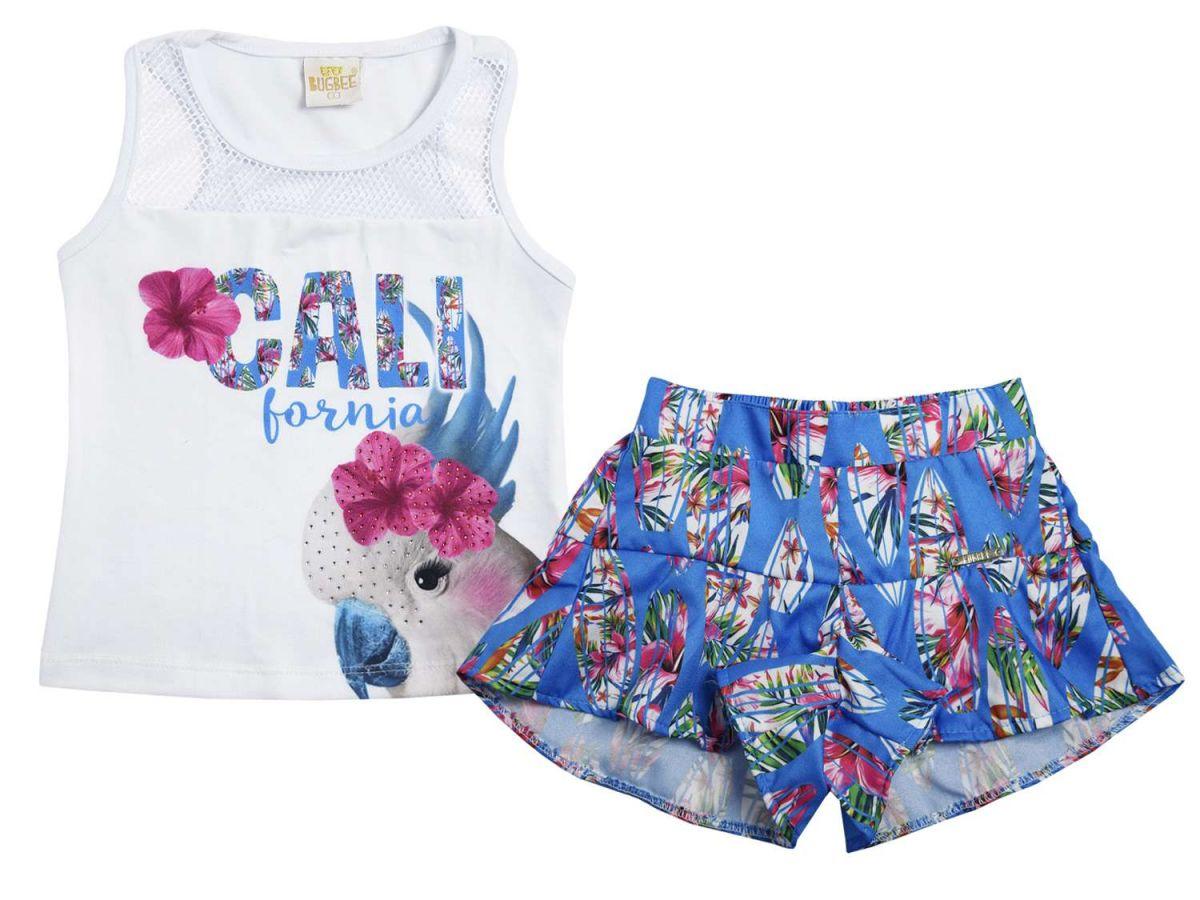 Conjunto Blusa e Shorts Azul Bugbee