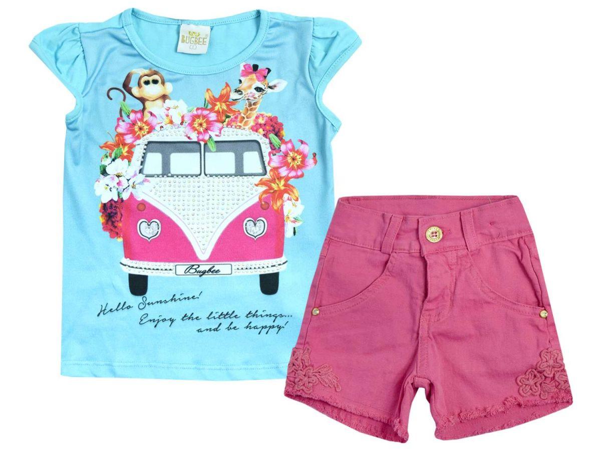 Conjunto Blusa e Shorts Desfiado Pink Bugbee