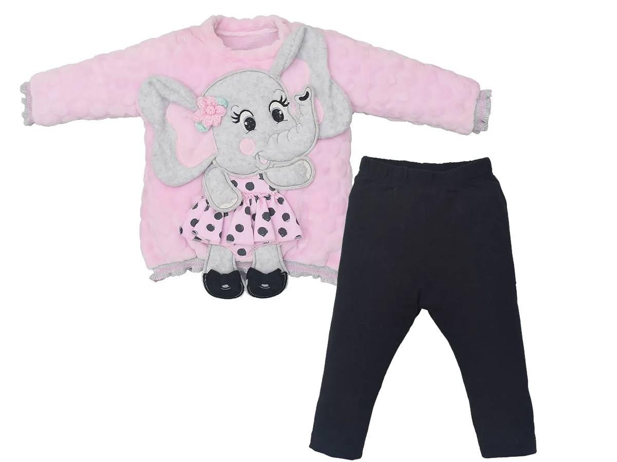 Conjunto Blusa Elefante Pelúcia e Legging Upi Uli