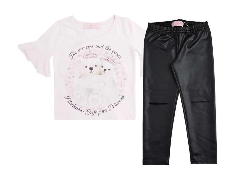 Conjunto Blusa Ursinhas e Legging Preta Pituchinhus