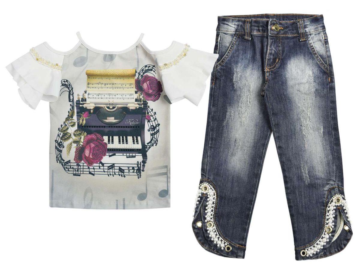 Conjunto Blusinha e Calça Jeans Kukixo