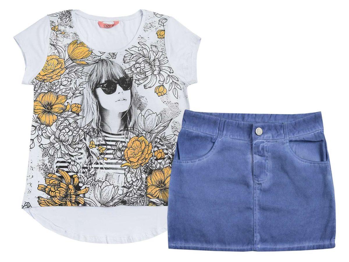 Conjunto Blusinha e Saia Jeans Lyzy