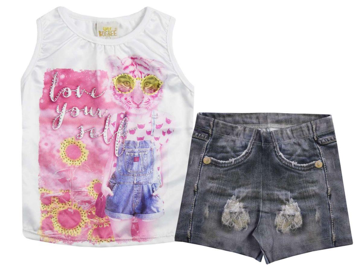 Conjunto Blusinha e Shorts Jeans Bugbee