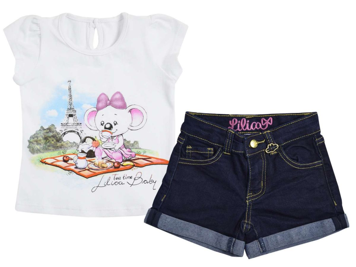 Conjunto Blusinha Estampada e Shorts Jeans Lilica Ripilica