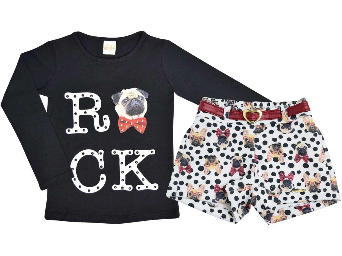 Conjunto Bugbee Blusa Rock e Shorts