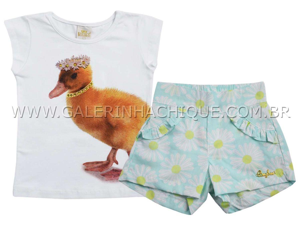 Conjunto Bugbee Blusinha Patinho e Shorts Flores
